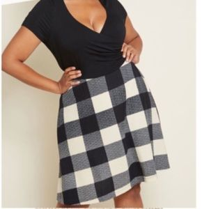 Fervour ModCloth Black Jersey and plaid dress XL